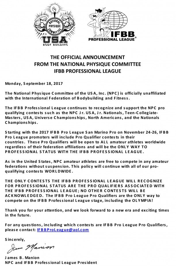 IFBB Announcement